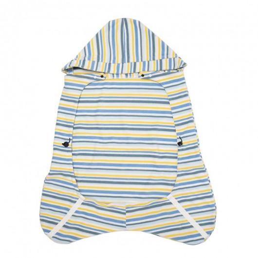 IBQ保暖罩藍黃條紋內面